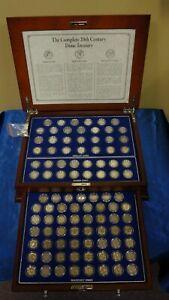 DANBURY MINT COMPLETE 20th CENTURY DIME TREASURY BARBER-MERCURY-ROOSEVELT DIMES