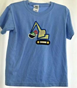 Gildan T Shirt Boys Youth SMALL Short Sleeve Blue Graphic Front Loader Truck