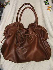 "Anchor Blue Brown Vinyl Large Satchel Handbag  - 18"" x 14"""