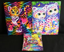 Lisa Frank Lot of 2 folders Cats Tiger Sasha and Shanti Hunter Forrest & Puzzle
