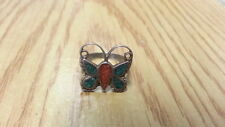 Beautiful Vintage Big Butterfly Turquoise Coral Ring 925 Sterling *Size 6*F977
