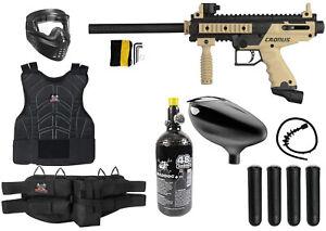 Maddog Tippmann Cronus Basic Paintball Gun Vest Starter Kit Package Black Tan
