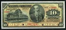 Mexico 1906-1911, Banco Mercantil De Monterrey 10 Pesos, Specimen, S353As, UNC