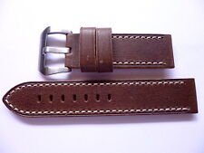 24mm Watch Strap Band with Buckle - 24/24mm Dark Leather Panerai Style