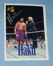 King Haku Signed 1990 Classic WWF WWE Card 135 The Islanders Wrestling Autograph