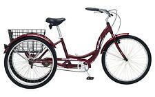 "New SCHWINN 26"" Meridian 3-Wheel Tricycle Adult Comfort Cruiser Trike Cherry Red"