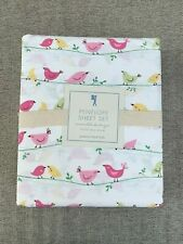Pottery barn kids Penelope Bird Sheet Set Full Pink Green