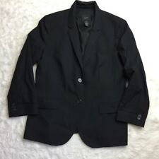 J Crew Womens Size 14 Blazer Super 120's Black Fully Lined Wool 2 Buttons A35