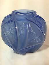 Consolidated art glass Line 700 blue wash on crystal vase