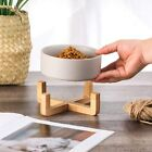 Ceramic Dog Cat Pet Food Water Bowl Wood Stand No Spill Clean Dishwasher Safe