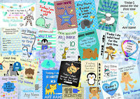 Set Of 30 Boys Personalised Baby Milestone Photo Prop Cards Signs & Posters