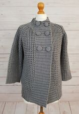 Brave Soul Women's Grey Buttoned 3/4 Sleeve Cable Knit Jumper Cardigan Size L