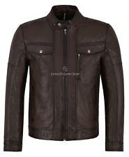 Chaqueta para Hombre de Cuero Real Marrón 100% piel de cordero Napa Motociclista de estilo 1804