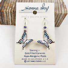 Sienna Sky Earrings 925 Sterling Silver Hook Violet Blue White Fantasy Butterfly