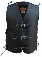 MENS MOTORCYCLE CLUB BUCKLE VEST 3MM THICK COWHIDE LEATHER NZ BRAIDING