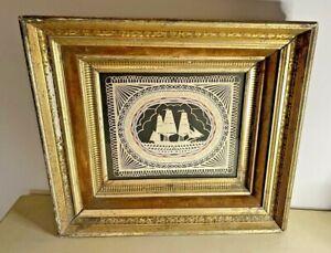 Scherenschnitte Valentine by Pamela Dalton 2010 in Antique Gold Frame
