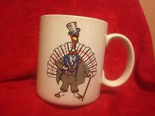 Vintage Rare Enesco Dressed Undressed Turkey Cup Mug EUC Thanksgiving