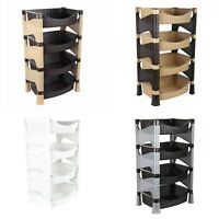 4 Tier Plastic Rattan Style Fruit Vegetable Shelves, Kitchen Storage Rack Stand.