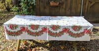 """Vintage Mid Century Christmas Holly Pine Cone Print Tablecloth 52 x 71.5"""""""