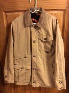 Men's tan canvas/flannel 3 season Volcom button Grant jacket sz M in GUC
