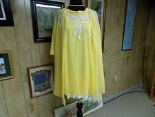 Vintage Poofy Yellow Chiffon Ivory Lace Kayser Babydoll Nightgown Robe Set S