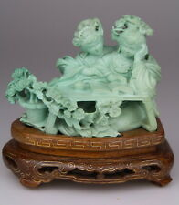 Antique Chinese Carved Turquoise Statue Kwanyin Lady Wood Stand 19th Qing
