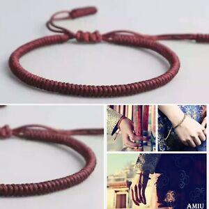 Tibetan Buddhist Lucky Charm Bracelet & Bangles Women Men Handmade DEEP RED