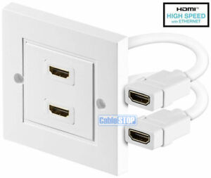 TWIN WHITE HDMI LEAD WALL PLATE WITH CABLE FULL HD 1080p TV CABLE FACEPLATE