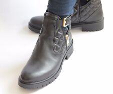 NOUVEAU ZARA cheville bottes en cuir noir cheville sangle bloc talon Biker Bootie BNIB UK 8