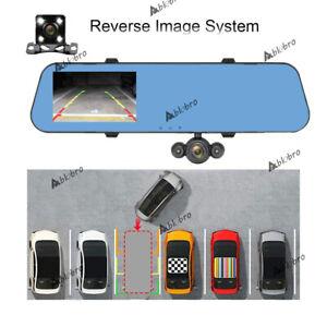HD 1080P Rear View Mirror Camera Three Lens Car DVR Mirror DashCam Recorder Kit