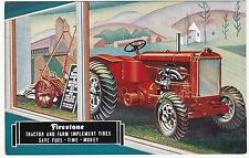 SUPER Advertising Postcard - Firestone Farm TRACTOR Tires - 1934 World's Fair