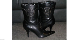 NEW Womens Bronx EMBELLESHMENTS Leather Western Boot Black Size 6 retail $229