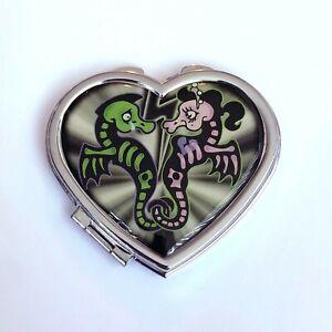 Kreepsville 666 Gothic Horror Psychobilly Skeleton Seahorse Heart Compact Mirror