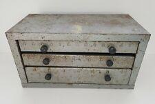 Vintage 3 Drawer Industrial Metal Tool Bits Parts Storage Cabinet