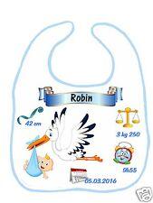 Bavoir bébé garçon cigogne qui annonce bébé réf G19 personnalisé avec prénom