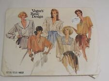 Vogue basic design 1832 vintage vogue blouse pattern size 8-12 bust31.5-34in