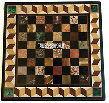 "48"" Marble Top Dining Table Chess Inlay Mosaic Garden & Outdoor & Hallway Decors"