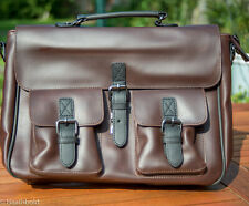 Vegan leather personalised brown satchel messenger laptop bag. Engraved