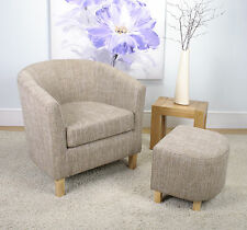 Shankar Eclipse Fabric Tub Chair And Footstool set in Tweed