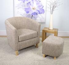Shankar Eclipse Fabric Tub Chair & Footstool set in Tweed
