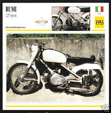 1953 Moto Rumi 125cc Sport Italy Bike Motorcycle Photo Spec Sheet Info Stat Card