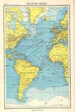 1952 MAP ~ Oceano Atlantico ~ America del Sud Africa Isole Britanniche i percorsi