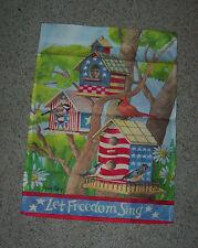 Spring Patriotic Garden Flag Bird Houses Let Freedom Ring