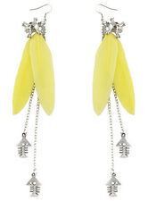 F1813 yellow light Feather silver tone chain skull fish bone dangle earrings New