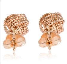 $1475 Tiffany & Co. 18k Rose Gold Somerset Twist  Mesh Knot Ball Stud Earrings