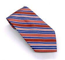 Jones New York Tie Gorgeous Brown Blue White Striped Silk 58 x 4 China New
