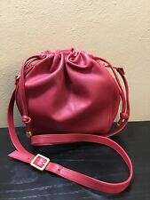 Red Leather Kenar Crossbody Shoulder Bag