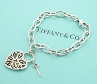 TIFFANY&Co Filigree Heart Key Charm Bracelet Sterling Silver 925 Bangle