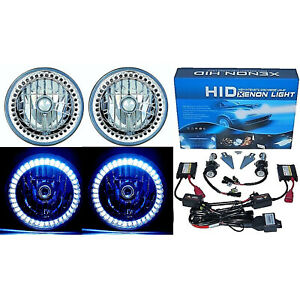 "7"" HID White LED Halo Ring Angel Eyes Headlight 6000K 6K Light Lamp Bulbs Pair"