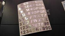 52 Buchstaben und 20 chrome  Klebezahlen 1,2 cm Hoch  Aufkleber Silber Chrom NEU